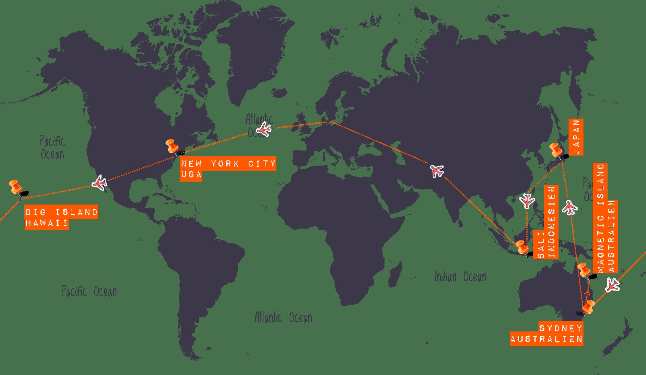World Map - Hawaii, Australien, Japan, Bali & Gili Islands - Højskole i Udlandet, HÖJSKOLENDK