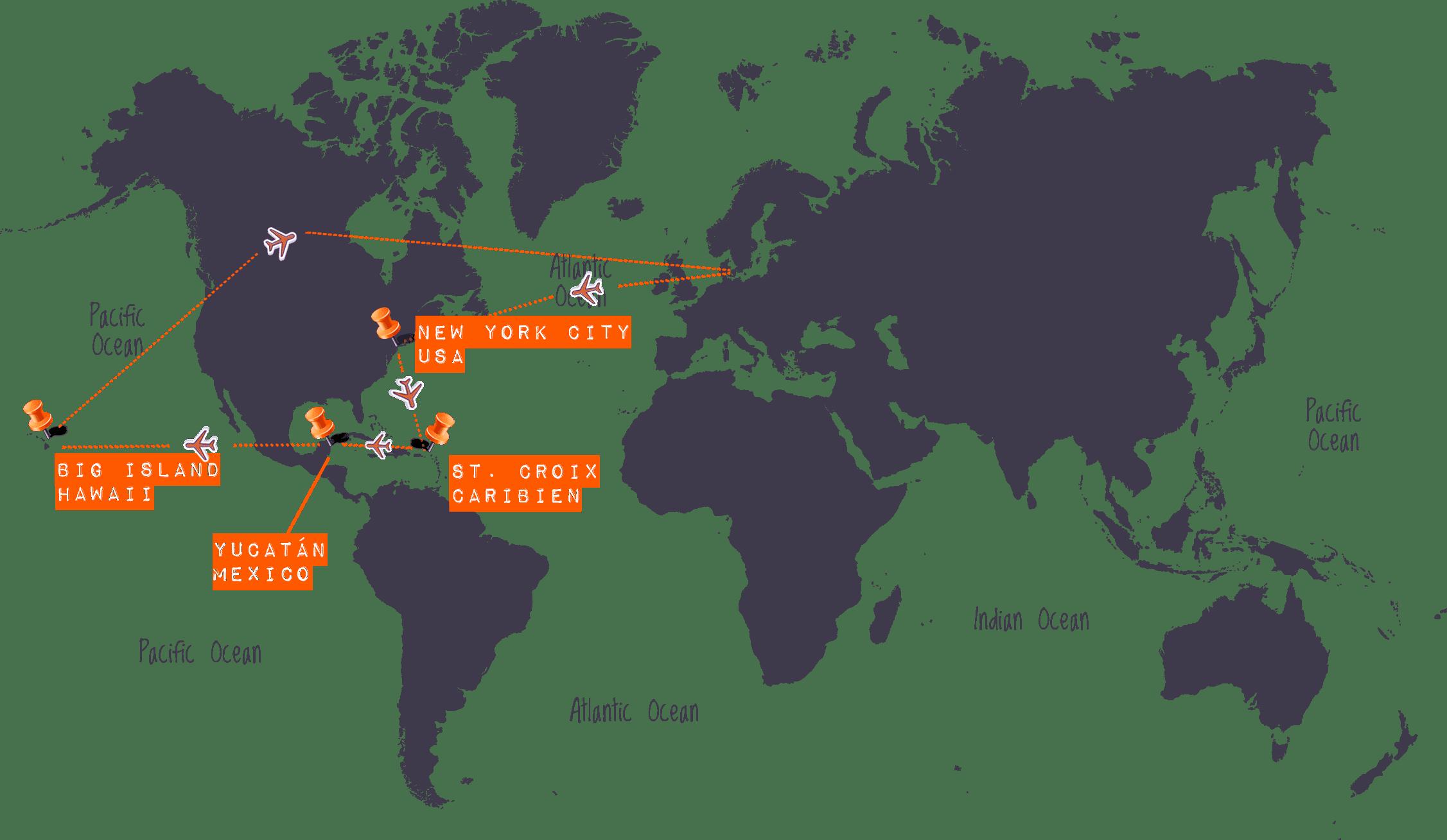 Højskole på Hawaii, Caribien & Mexico