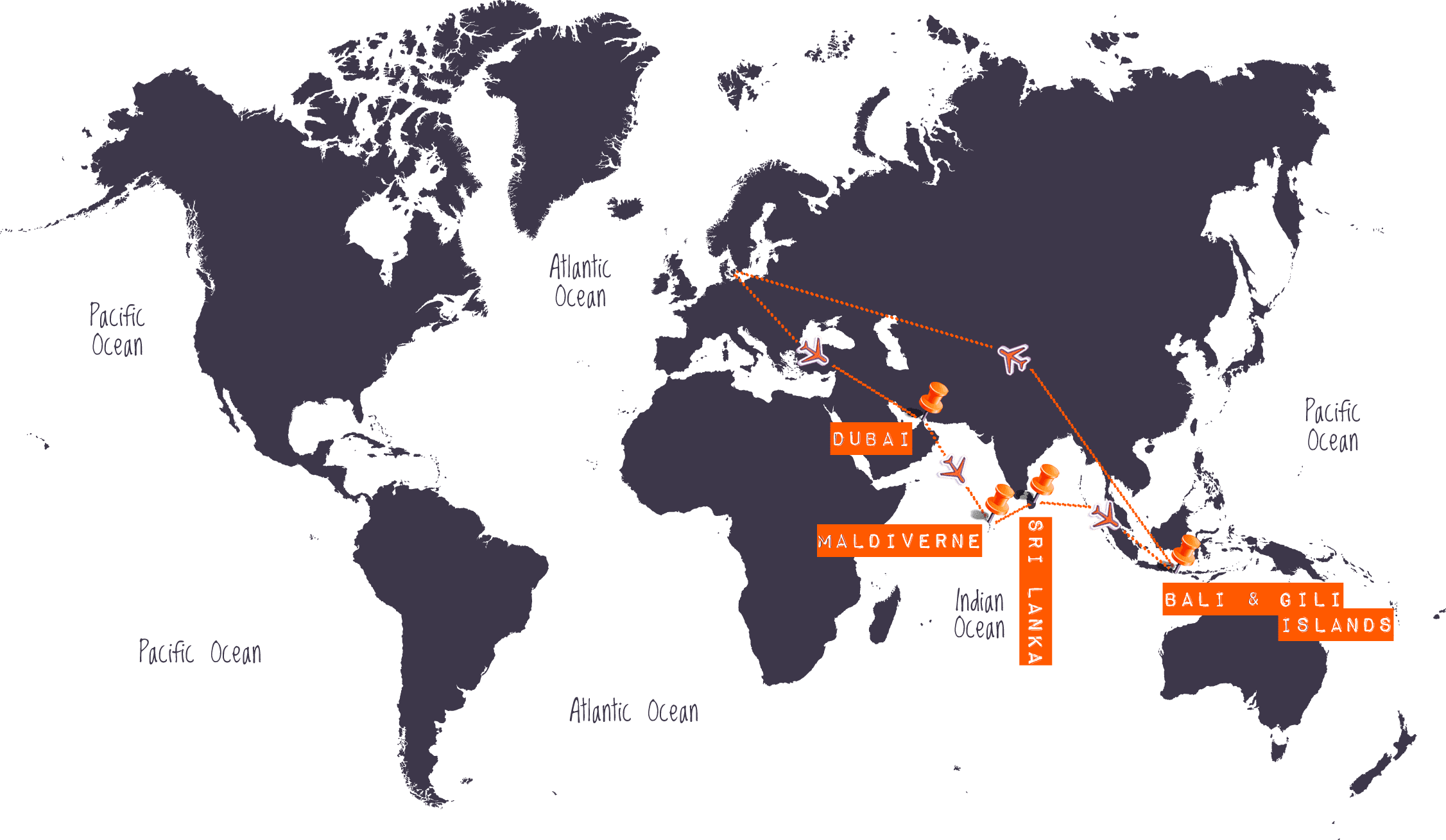 Verdenskort - Maldiverne, Sri Lanka, Bali & Gili Islands - Højskole i Udlandet, HÖJSKOLENDK